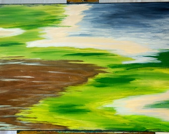 Large (36 in x 24 in)  acrylic with blues and greens - New Territories