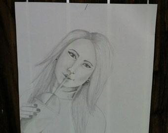 Original lápiz de dibujo, dibujo en papel, muchacha bebiendo helado café, lápiz y papel de dibujo a lápiz 12 X 9
