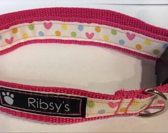 Love and Polka Dot Adjustable Dog Collar