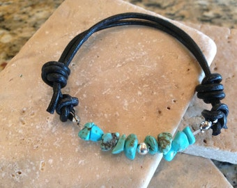 Sale 20% off of 18.00 Turquoise and Leather Bracelet