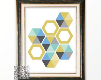 Abstract Print Abstract Art Digital Print Geometric Print Art Modern Art Contemporary Art Hexagon Print  Wall Decor : A0211