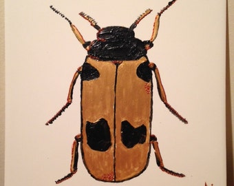 Ceramic Tile Painting. Original. Gold and black beetle Bug plaque insect creepy crawlie