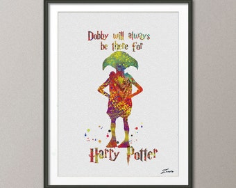 Harry potter Poster Harry potter print  Dobby poster Harry Potter Print Dobby Print illustration Kid Children Gift Wall Hanging A055-3