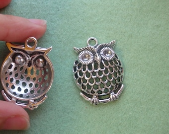 10 large owl pendant charm tibetan silver antique tone jewelry making wholesale filigree 3D