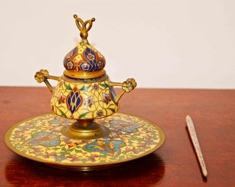 Turkish brass inkwell. 20s. Oriental color on your desk.