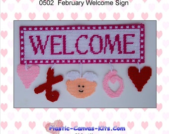 February Welcome Sign-Plastic Canvas Pattern-PDF Download