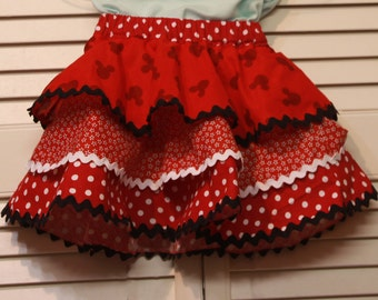 Girls Minnie Ruffle Skirt three ruffles skirt with three different fabric patterns and zig-zag finish