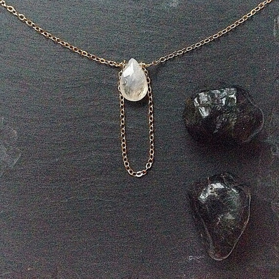 moonstone and gold loop necklace ••• delicate luxe jewelry