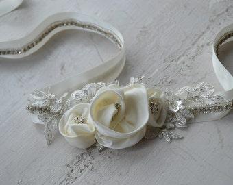Bridal Sash with Floral detailing, bridal belt, bridal sash, wedding sash, floral belt, floral sash, wedding dress sash belt