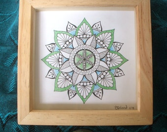 Original Hand drawn Mandala in Frame, 15 x 15cm