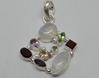 925 sterling silver and and multi stone pendant. Semi precious stone. With bail. Handcrafted. Wholesale. P93