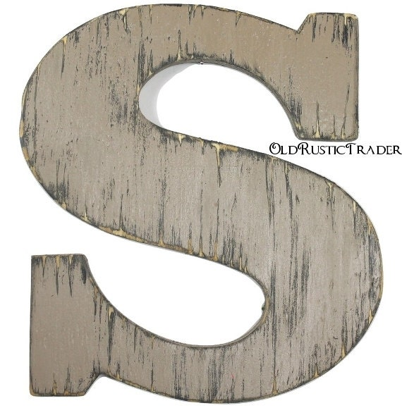 Wooden intial s rustic wood letter 12 inch letter wall decor for Large wooden letter p