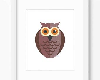 Owl Print, Owl Art, Nursery Art, Nursery Print, Nursery Owl Print, Nursery Owl Art, Kids Owl Art, Kids Owl Art, Forest Animals, Children Owl