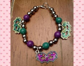 Mardi Gras charm bracelet