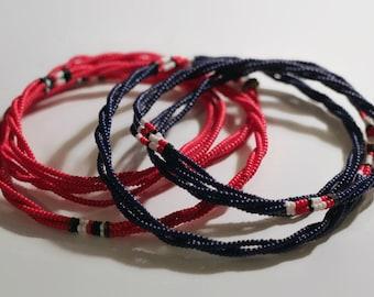 Necklace long Maasai Masai red blue big bright colourful authentic fair trade handmade charity African tribal Kenya