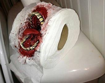 "Zombie, zombie art, zombie sculpture, art, bloody, custom, custom art,  Zombie style toilet paper ""ZP"""