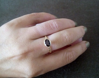SALE!  Oval ring- Black Onyx Stacking Ring - Gemstone Ring - Gold Ring - Bezel Ring - Stackable Ring - Black Ring