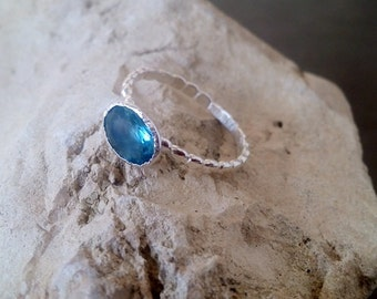SALE! Stack blue topaz ring,bright blue ring,gemstone ring,oval ring,stacking ring,silver ring,delicate ring