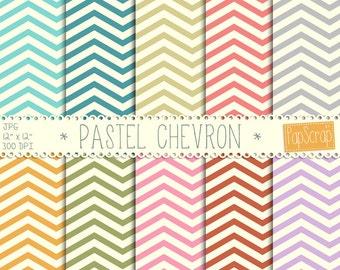 "Chevron digital paper : ""Pastel Chevron"", Chveron pattern, Zig Zag Papers, Digital paper, Colorful papers, Colorful patterns"