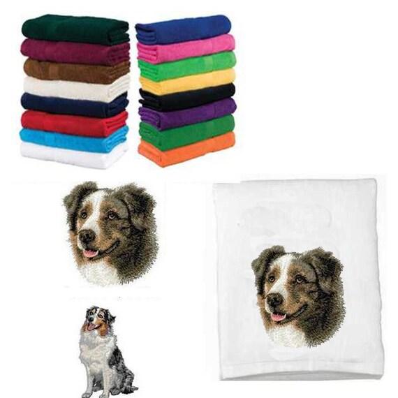 Embroidered Australian Shepherd Beach Towel