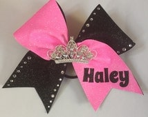 Custom cheer bow with a crown