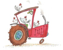 red tractor - farm animals - Childrens wall art - chooks driving tractor