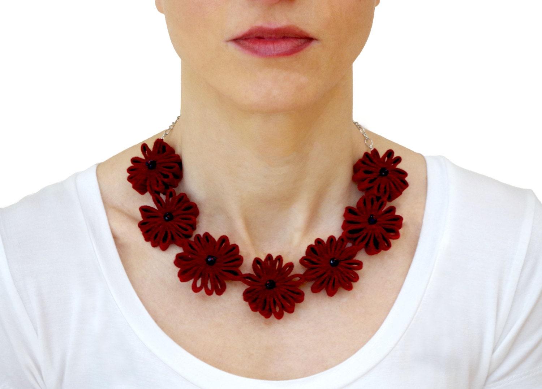burgundy statement flower necklace felt flower by secondskein