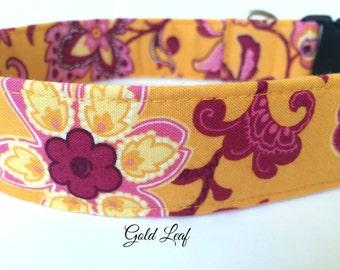 Gold Leaf Dog Collar,  Floral Design