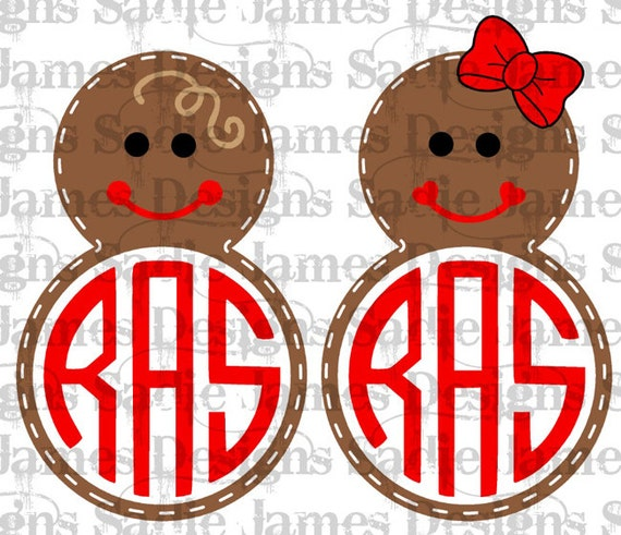 Gingerbread Man Monogram Frame Boy And Girl Svg And Silhouette