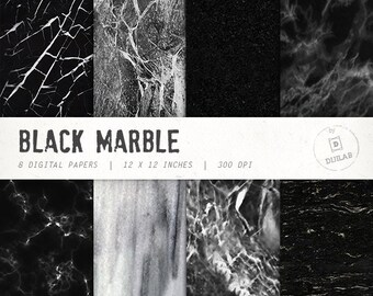 Marble digital paper in black color with various marble pattern, marble backgrounds and  marble texture