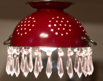 Red Colander Lampshade with Vintage Style Crystal Glass Chandelier Drops