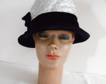 1960's Black Velvet and Silver Lame Hat
