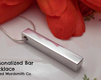 Personalized 4 sided Bar Necklace.  Choose up to 4 sides to be stamped  to make your own bespoke Necklace.