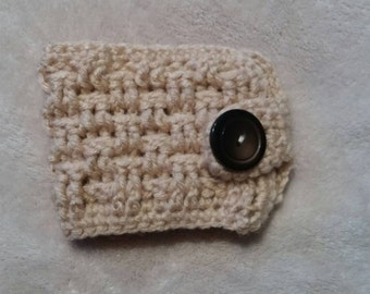 Crochet Basketweave Cup Cozy with Button