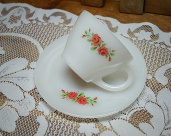 Fire King Anchor Hocking Red Rose Cup and Saucer