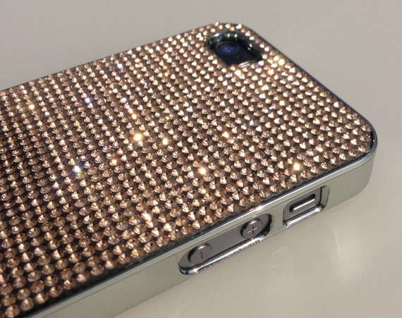 iPhone 5 / 5s / 5se  Rose Gold Rhinestone Crystals on Silver Chrome Case. Velvet/Silk Pouch Bag Included, Genuine Rangsee Crystal Cases