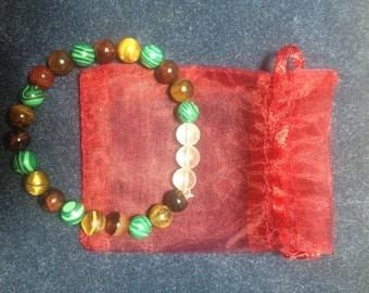 Earth Seeker Bracelet, Quartz, Carnelian, Tiger Eye