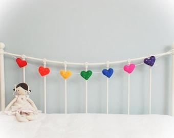 Heart Garland - rainbow heart garland - felt garland - baby shower - bunting - sequins - 7 felt hearts - child decor - READY NOW