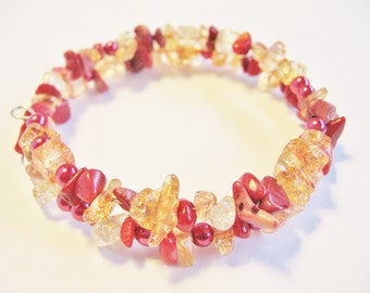Glass Memory Wire Bracelet, Autumn Sparkle Bracelet, Fall Jewelry, Double Strand Bracelet