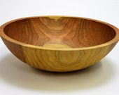 """15"""" Large Solid Cherry Bowl, Food Safe Wooden Bowl, Wooden Salad Bowl, Hand Turned Bowl, Personalize your Bowl with no additional cost!"""