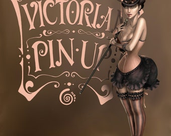 PRINT · Victorian PinUp . Digital illustration by Cintia Gonzálvez (various sizes to choose from)