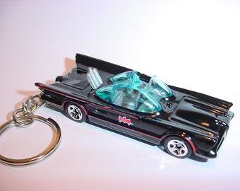 3D 1960's Batmobile custom keychain by Brian Thornton keyring key chain finished in black color trim diecast metal body Batman TV series