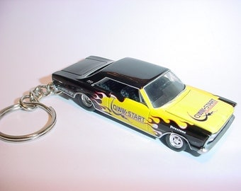 3D 1966 Ford Galaxie custom keychain by Brian Thornton keyring key chain finished in black/flames color trim diecast metal body opening hood