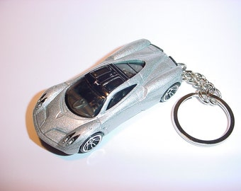 3D Pagani Huayra custom keychain by Brian Thornton keyring key chain finished in silver metallic color trim diecast metal body