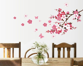 "Large beautiful wall decal ""Cherry blossom tree branch"": Peel & stick wall art. Free shipping!"