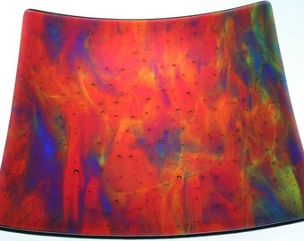 Square glass platter in an abstract pattern (PL-5)