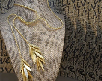 Hand-Crafted Lariat Gold Fringe Rope Necklace