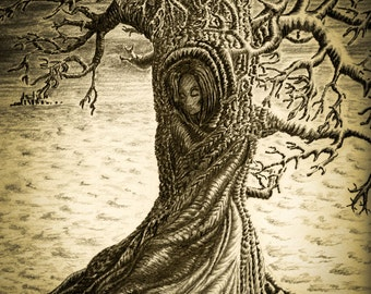 Pencil Drawing Tree Print Wuthering Heights Sepia Print Tree Drawing Signed Art Print Giclee print Giclee Art Print Melanie Colletta Art