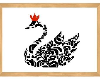 bird cross stitch pattern, ornamental, silhouette pattern, swan pattern, bird pattern, abstract, bird, black and red, modern cross stitch