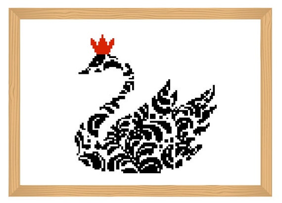 bird cross stitch pattern, ornamental, silhouette pattern, swan pattern, bird pattern, abstract, bird, black and red, modern cross stitch